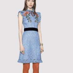 Gucci Top quality Embroidered Cluny Lace Dress